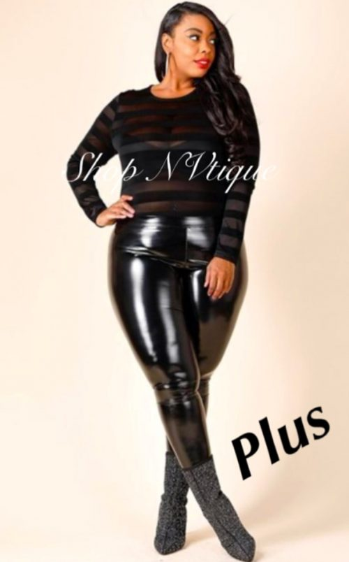 Black Latex Leggings (Plus Size Only) On Sale Now! – NVtique.com
